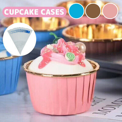 £5.29 • Buy 60Pcs Baking Cups Cupcake Liners Foil Muffin Wrappers Cases Paper Cup Cake Tray