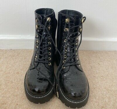 £20 • Buy Topshop Black Patent Croc Lace Up Boots Size 5 Brand New