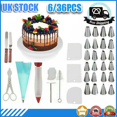 £10.46 • Buy NEW 6/36 X Cake Decorating Turntable Set Tool Spatula Rotating Stand Nozzles Kit