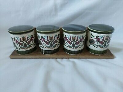 £11.25 • Buy Vintage Royal Worcester Palissy Contessa Storage Jars With Wooden Stand