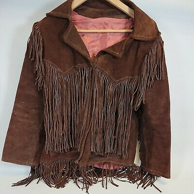 $49.99 • Buy 60s 70s Vintage Fringe Women's Brown Suede Jacket Size XS  -Hand Made?-As Is