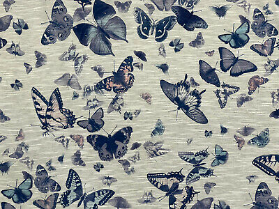 £5.99 • Buy Blue Pink Butterfly Print Burnt Out Viscose Jersey Dress Fabric 150 Cm Wide
