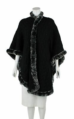 £192.99 • Buy N. PEAL Black Cashmere Fur Trimmed Cable Knit Cape, One Size