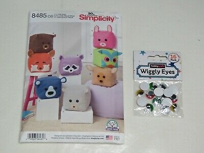 £1.99 • Buy Simplicity Sewing Pattern For 8  Stuffed Cube Animals + Pack Of 16wiggly Eyes