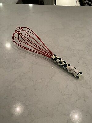 """$30 • Buy Mackenzie-Childs Courtly Check Black Small Whisk 8"""" Hand Painted Enamel Ware"""
