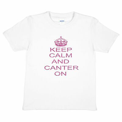 £7.99 • Buy Keep Calm & Canter Pony Horse Riding Girls Funny Kids T Shirt