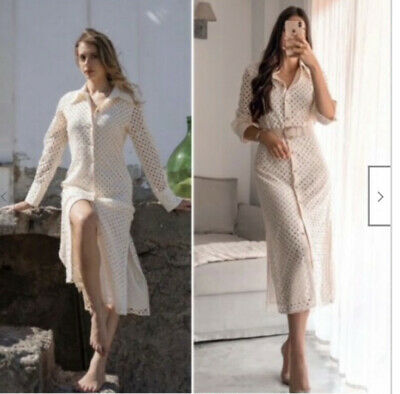 $69 • Buy Zara Fitted Dress With Cutwork Embroidery Ecru Size S Ref. 4786/109