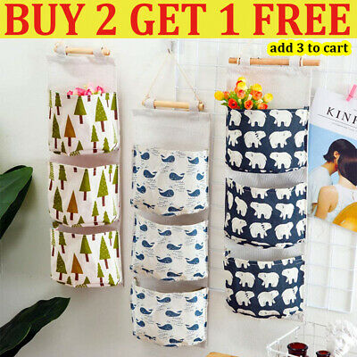 £4.96 • Buy 3 Pockets Wall Hanging Storage Bag Closet Door Toy Cosmetic Organizer Pouch Home