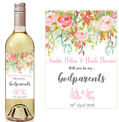£2.95 • Buy Thank You For Being My Godmother, Godparents Etc Wine Bottle Label, Gift Idea.