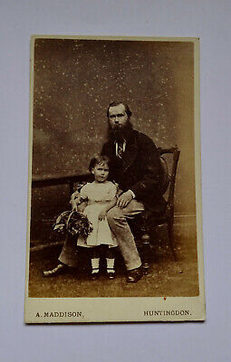 £1.99 • Buy Cdv Carte De Visite Of Man With Beard, Plus Daughter, By Maddison Of Huntingdon