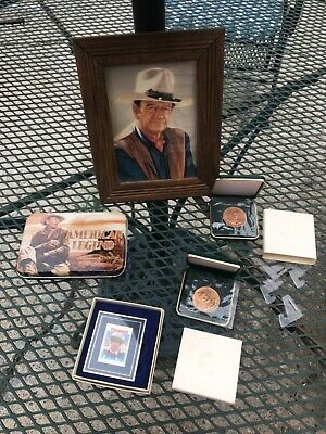 $24.99 • Buy Lot Of John Wayne Collectibles, Coins, Stamp, Playing Cards & Picture