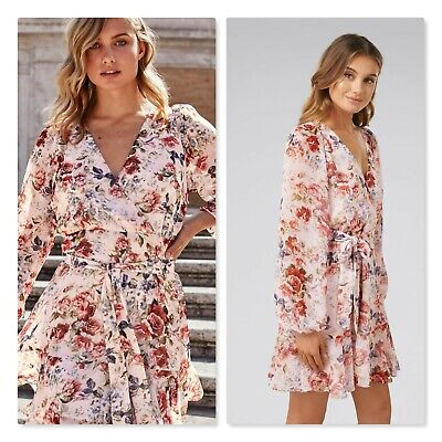 AU95 • Buy FOREVER NEW   Womens  Sophia Wrap Floral Dress RRP$149.95 [ Size AU 12 Or US 8 ]