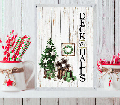 £4.25 • Buy CHRISTMAS Print Green XMAS PICTURE Deck The Halls WALL ART Present Gift A4 1