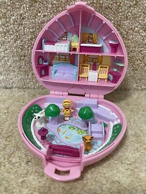 £15 • Buy VINTAGE POLLY POCKET COUNTRY COTTAGE Pink Heart Compact 3 FIGURES 1989 Bluebird