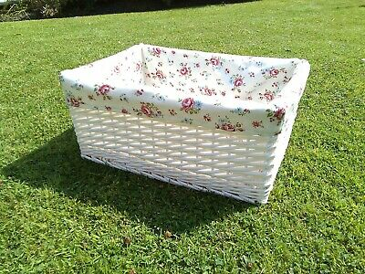 £19.99 • Buy Natural Wicker White Large Oblong Storage Basket With Lovely Pink Floral Liner