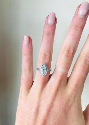 £700 • Buy 18ct White Gold 1ct Total Diamond Marquise Cluster Ring