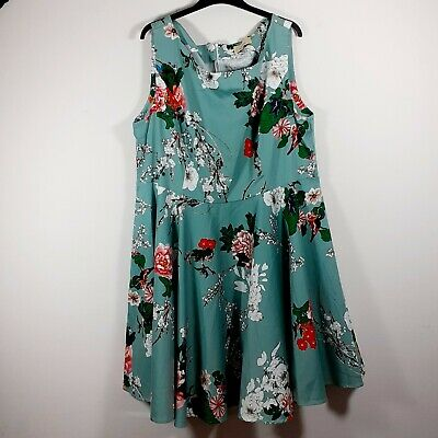 £19.50 • Buy Grace Karin Mint Green Floral Summer Dress, Skater, Fit And Flare, Size 3x