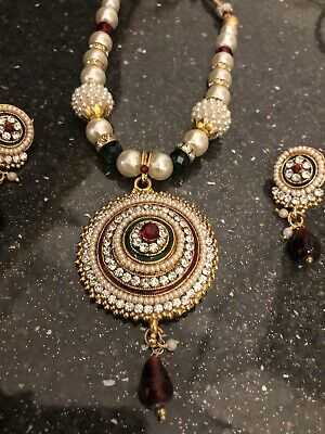 £8.50 • Buy New Bollywood Indian Costume Jewellery Necklace Set Gold Pearl Crystals