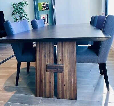 AU1400 • Buy Dining Table + 4 Curved Chairs Nickscali Premium Concrete Top