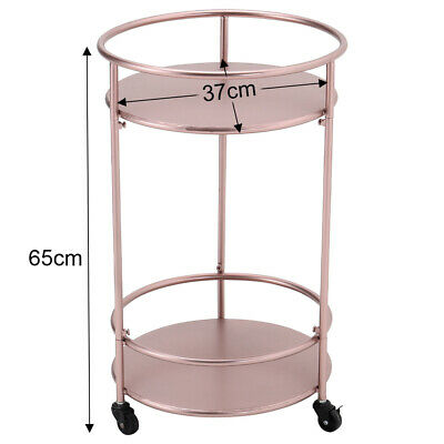 £57.95 • Buy 2 Tiers Drinks Trolley Rose Gold Art Deco Bar Cart Serving Table On Wheel