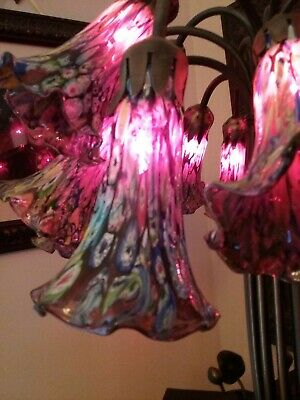 $1295 • Buy Rare Find... Lily Lamp... Vintage Millefiori Murano Glass 15 Shades W/red Bulbs