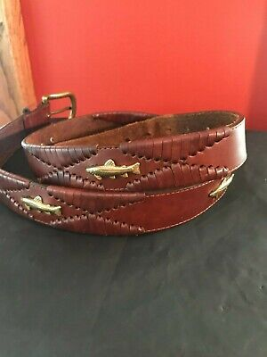 $18 • Buy Orvis Brown Leather Braided Woven Belt Gold Trout Fish Brass Buckle Size 38