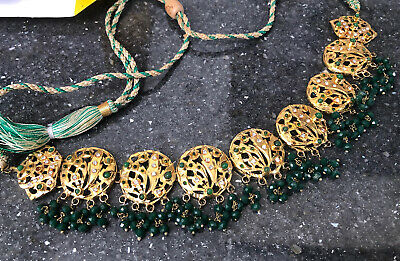 £9 • Buy New Bollywood Indian Costume Jewellery Necklace Gold Green Emerald Stones UK