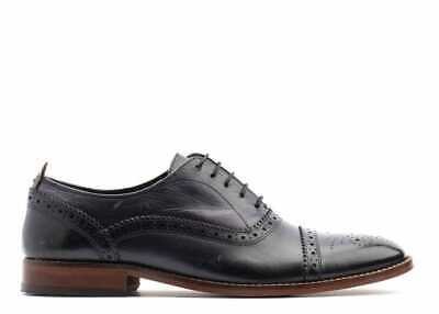 £32.50 • Buy Mens Navy Brogues, Cast Leather Oxford Shoes In Navy By Base London