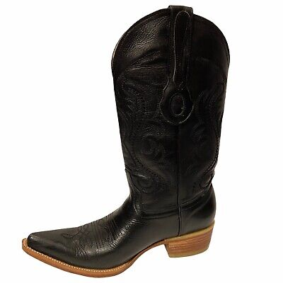 $72.15 • Buy Cowboy Boots Black Leather Mens Size 25 Style 250