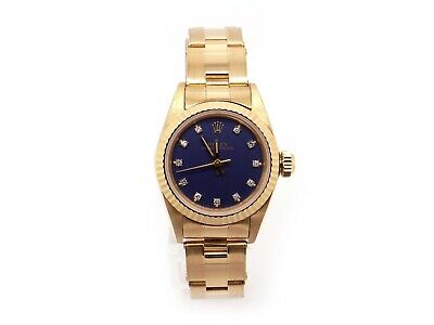 $ CDN8150.35 • Buy Rolex 18k Yellow Gold Oyster Perpetual Diamond Blue Dial Watch 6719 Ford Motor
