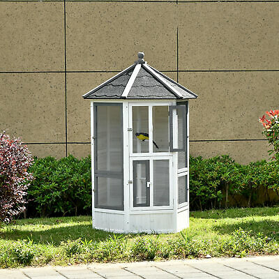 £209.99 • Buy PawHut Large Wooden Bird Cage Aviary House For Budgie Canary Cockatiel Parrot