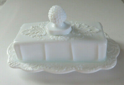 $25 • Buy Indiana Glass Co White Milk Glass Harvest Grape Vintage *Covered Butter Dish*