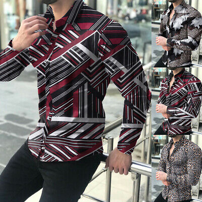 $19.69 • Buy Men's Slim Fit Retro Floral Printed Long Sleeve Shirts Collar Button Casual Tops