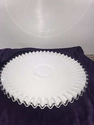 $25 • Buy Fenton White Milk Glass Silver Crest Footed 13  Cake Plate - Clear Ribbon Edge