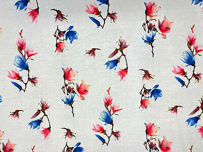 £6.45 • Buy Red Blue Orchids Print Cotton Viscose Jersey Dress Fabric 150 Cm Wide
