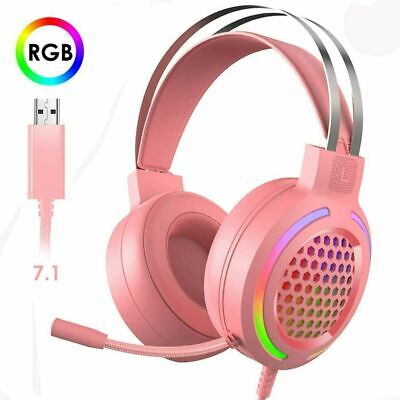AU26.63 • Buy AU Gaming Headset Stereo RGB LED Backlit 7.1 Surround Microphone USB For PC Xbox