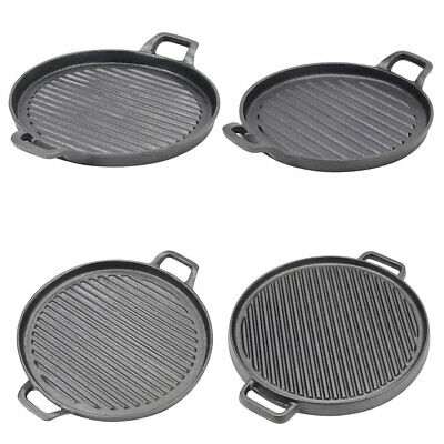 £16.95 • Buy Cast Iron Frying Griddle Plate Pan Grill BBQ Skillet Pancake Reversible Cooking