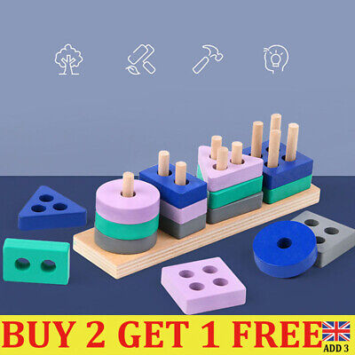 £4.96 • Buy Wooden Toys For 1 2 3 4 5 Years Lead-free Old Boys Girls Toddler Educational EM