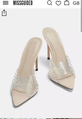 £20 • Buy *NEW* Missguided Crystal Nude Mule Shoes Size 5