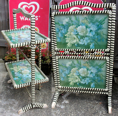 £39.99 • Buy Vintage Folding Cake Stand ~ Plant Table Or Fire Screen ~Retro 1950's 2 Tiers