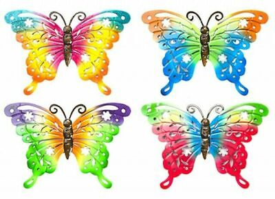 £7.99 • Buy 4 X Butterfly Rainbow Metal Garden Wall Hanging Fence Ornament Decoration