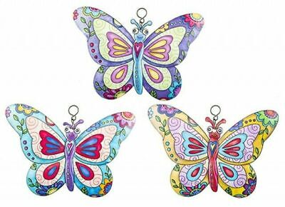 £8.99 • Buy 3 X Colourful Butterflies Metal Garden Wall Hanging Fence Ornament Decoration
