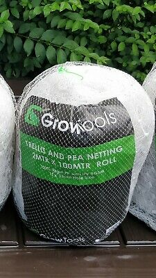 £25 • Buy GrowTools Trellis Pea Netting Roll Grow Vegetables Support 15cm Holes 2 X 100m