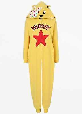 £19.99 • Buy Adult Children In Need Pudsey Bear Fleece Yellow All In One Zip Front S M L XL