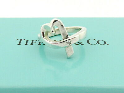 £87.82 • Buy TIFFANY & CO Sterling Silver Loving Heart With Diamond Ring Size 4.75