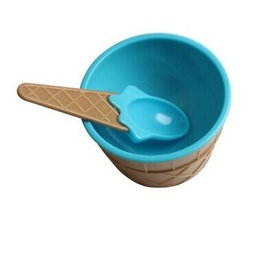 £9.95 • Buy 4 Pack Kids Ice Cream Dishes With Spoons Bowls Dessert Plastic Cone Summer Blue