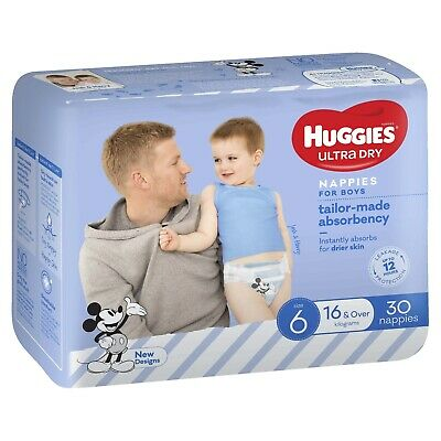 AU26.36 • Buy Huggies: Ultra Dry Boy Nappies - Size 6 (30 Pack)