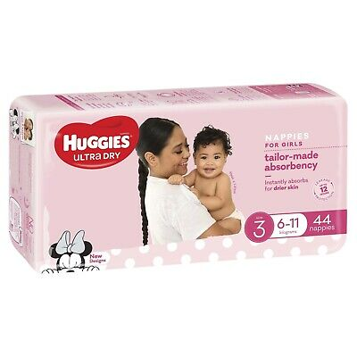 AU26.36 • Buy Huggies: Ultra Dry Girl Nappies - Size 3 (44 Pack)