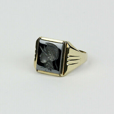 £210.27 • Buy Men's Vintage 10k Yellow Gold And Carved Hematite Intaglio Ring Size 10.5