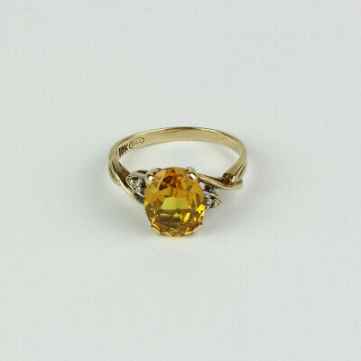 AU200.69 • Buy Vintage 10k Yellow Gold Synthetic Orange Sapphire And Diamond Ring Size 6